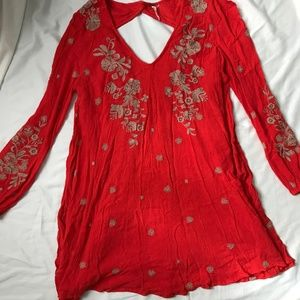 Free People Red Embroidered Floral Tunic